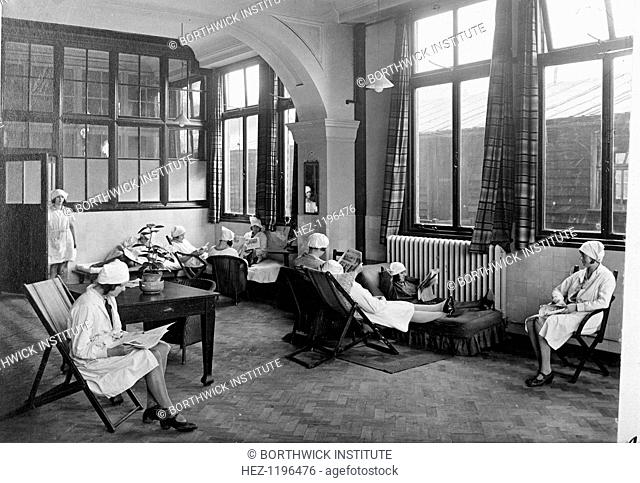 Rowntree girls in their rest room, York, Yorkshire, 1933