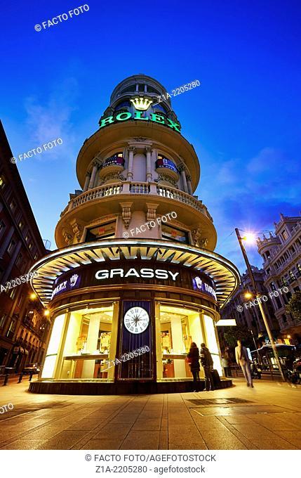 Edificio Grassy, located in Gran Via avenue. Madrid. Spain