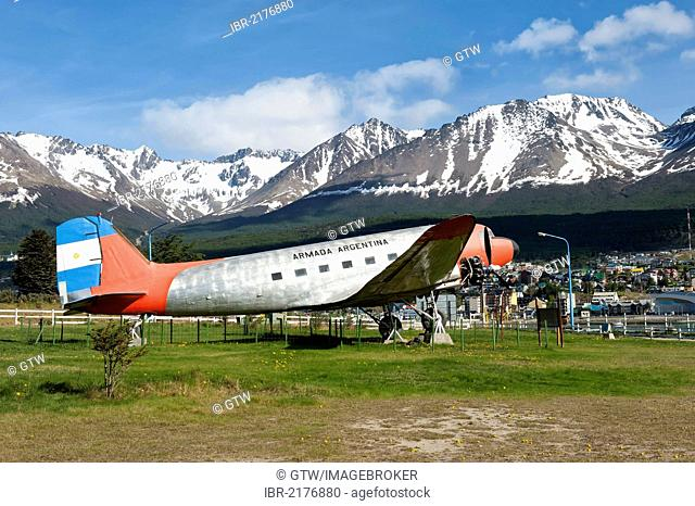DC-3 plane Cabo de Hornos, one of the first Argentinean planes to fly to Antarctica in the sixties, Ushuaia, Fireland, Patagonia, Argentina, South America