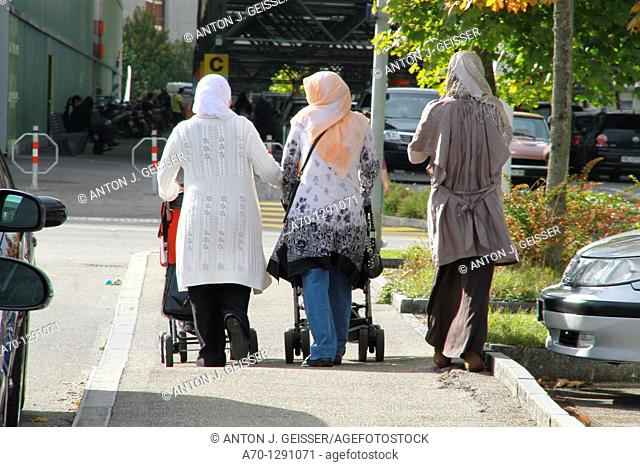 Zurich, switzerland, women with headscarves