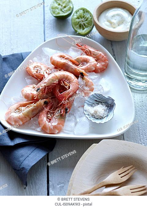 Cooked prawns dish