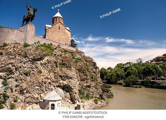 Metekhi Church and the statue of King Vakhtang Gorgasali, standing above the Mtkvari River in Tbilisi, the Georgian capital