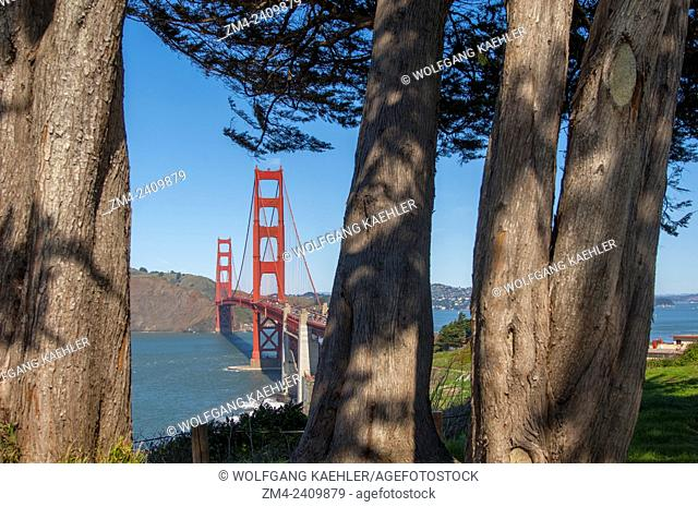 View of the Golden Gate Bridge from Fort Winfield Scott outside of San Francisco, California, USA