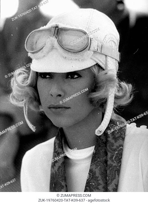 Sept. 7, 1968 - Location Unknown - Actress MIREILLE DARC in head gear as she plays the role of a driver of the 1920s Peugeot Tour in the film