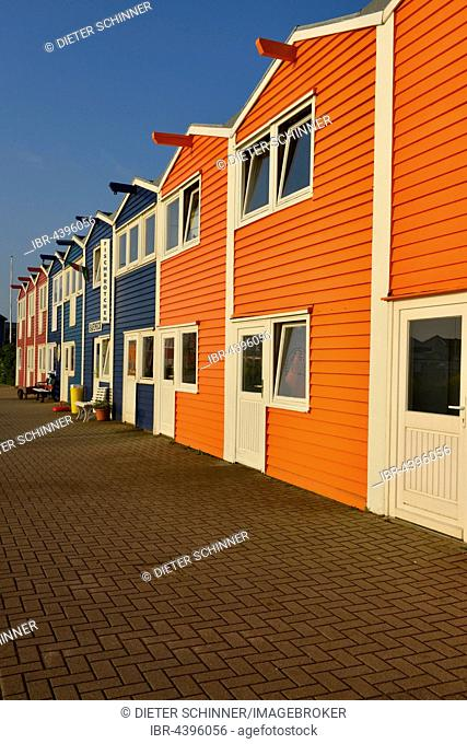 Hummerbuden, colorful lobster shacks, Helgoland, North Sea, Schleswig-Holstein, Germany