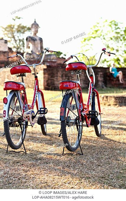 Bicylces parked at Wat Mae Chon near Sukhothai