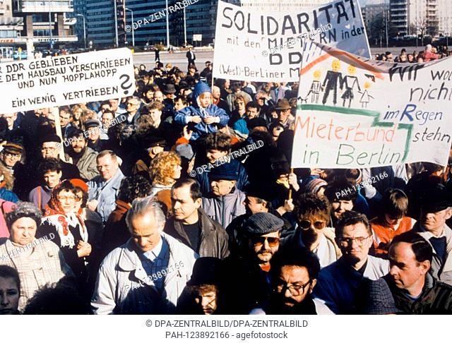 On 3 March 1990 several hundred people demonstrated on Alexanderplatz in East Berlin against usury of rent and speculation as well as the transfer of state...