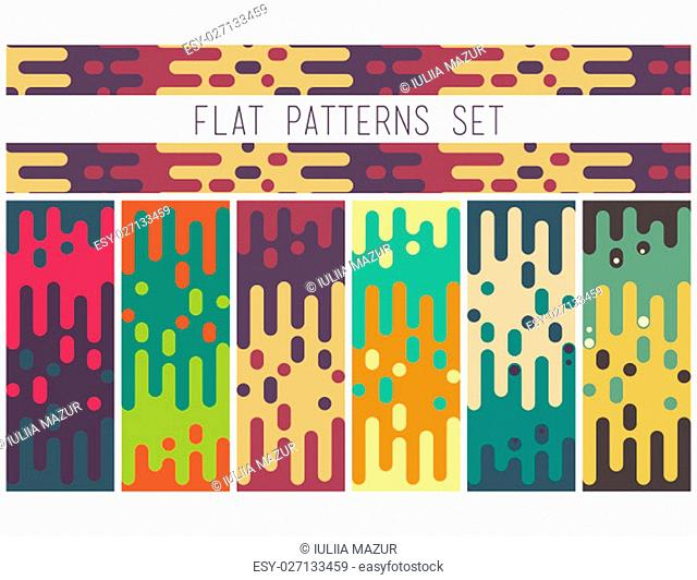 Universal colorful seamless flat pattern set. Abstract doodle geometric lines in retro memphis style, fashion 80-90s