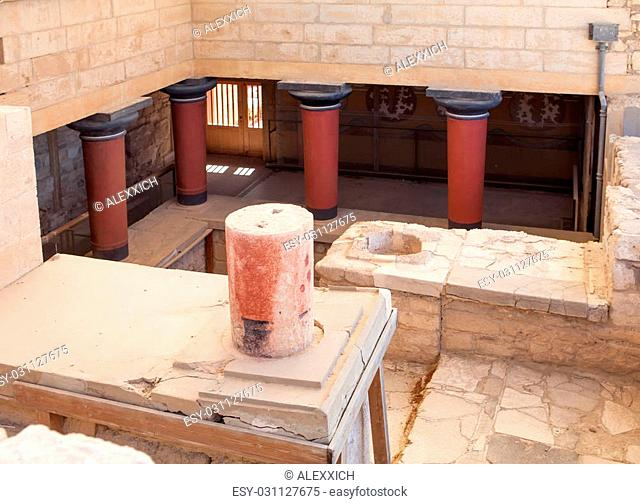 Knossos palace at Crete, Greece, is the largest Bronze Age archaeological site on Crete