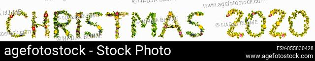 Flower, Branches And Blossom Letter Building English Word Christmas 2020. White Isolated Background