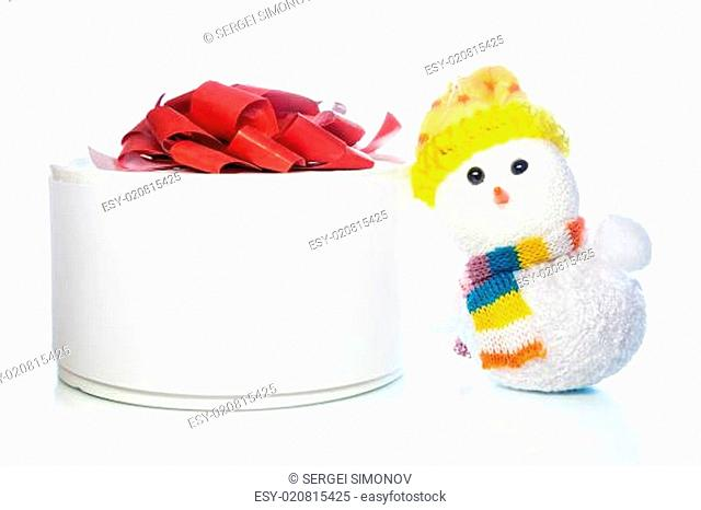 Christmas snowman toy with gift box or present