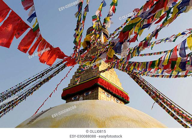 Kathmandu, Nepal - December 03, 2014: Detail of the Boudhanath Stupa