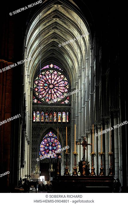 France, Marne, Reims, Notre Dame Cathedral listed as World Heritage by UNESCO, large rose window