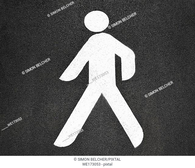 Pedestrian Crossing Sign, High Angle