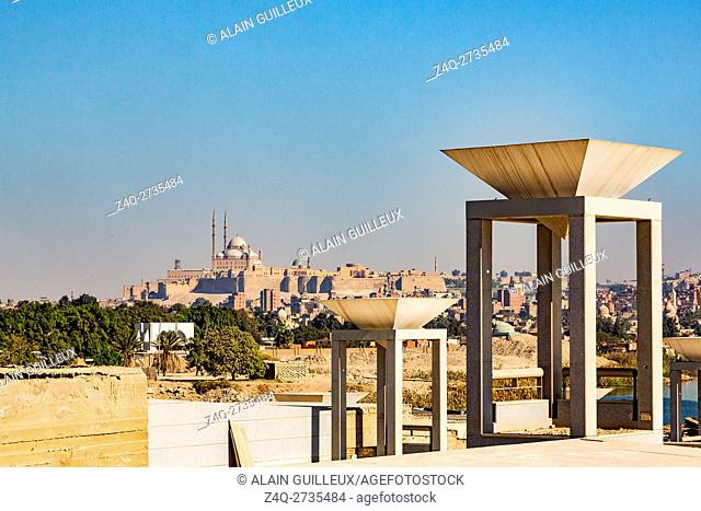 Egypt, Cairo, the National Museum of Egyptian Civilization, not yet inaugurated, in December 2015 : The lights of the Entrance Court have the shape of...