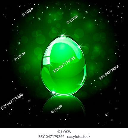 Decorative glossy Easter egg on green background, illustration