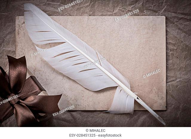 Present box sheet of wrapping paper quill holidays concept