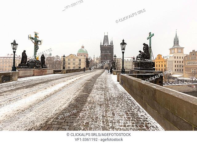 Snowfall at Charles Bridge