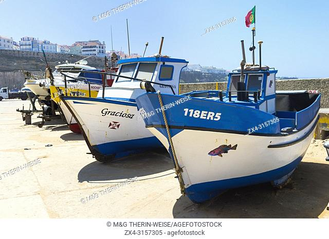 Fishermen boats, Praia dos Pescadores, Fisherman beach, Ericeira, Lisbon Coast, Portugal
