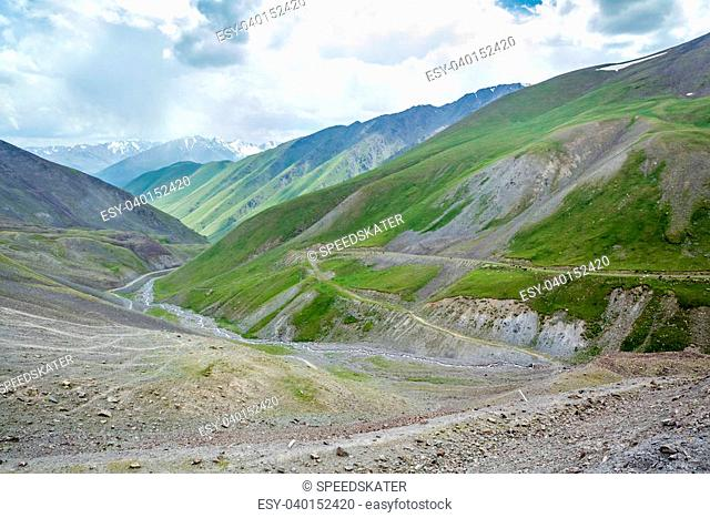 Serpentine mountain road. View from Kegety pass, Tien Shan, Kyrgyzstan