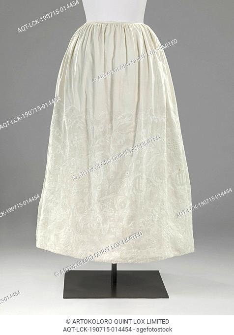 White cotton skirt, more than half adorned with white English embroidery with leaf and flower motifs and abstract motifs, cotton (textile), embroidering