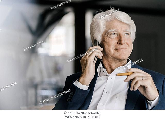 Portrait of relaxed senior businessman on the phone