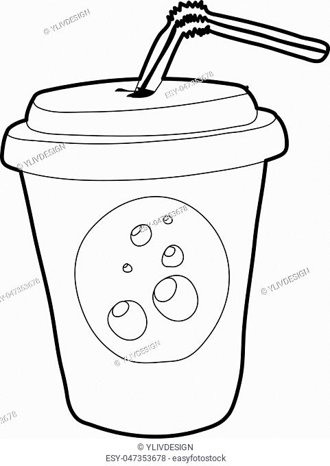 Plastic cup of limonade icon. Outline illustration of plastic cup of limonade vector icon for web design