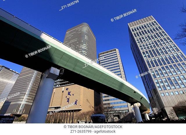 Japan, Osaka, skyline, skyscrapers, expressway,