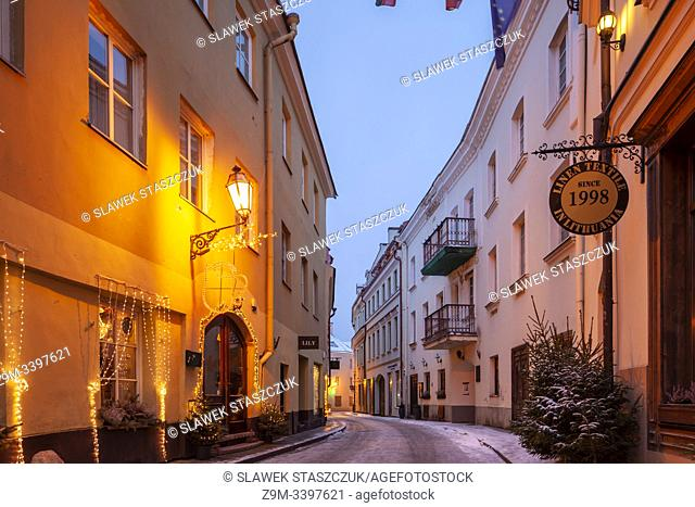 Winter dawn in Vilnius old town, Lithuania