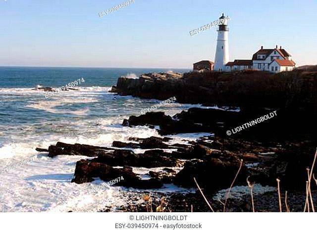 Portland Head Lighthouse, Cape Elizabeth, Fort Williams, Maine USA