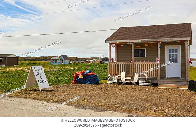 Jams and firewood displayed for sale in the front yard of a timber house, L'Anse Aux Meadows, Newfoundland, Canada