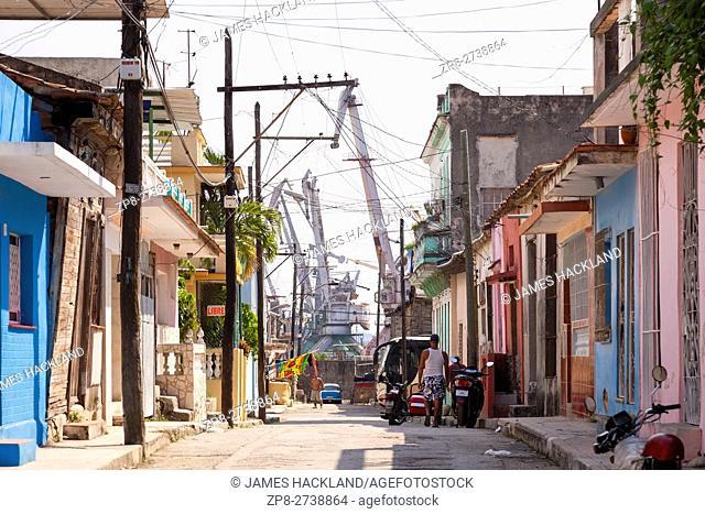 Heavy industry bordering a neighbourhood in the municipality of Regla, Havana, Cuba