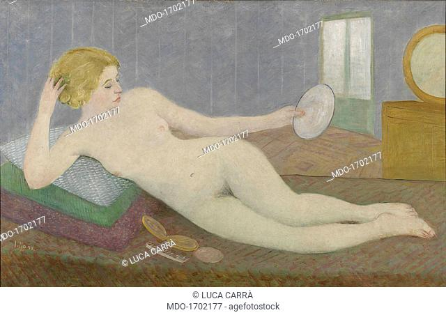 The Mirror (Lo specchio), by Umberto Lilloni, c. 1936, 20th Century, oil on canvas, 90 x 142 cm. Italy, Lombardy, Milan, Museo del Novecento
