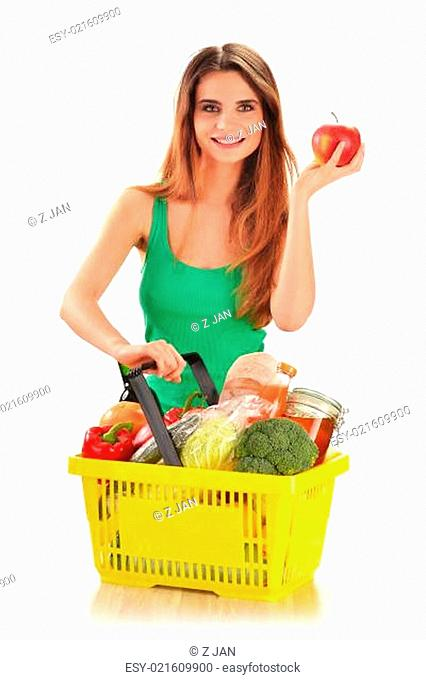 Young caucasian woman with shopping basket isolated on white