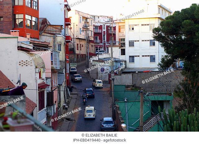 Madagascar Analamanga Region Antananarivo Typical scene in the capital of Madagascar. Renaults and cobbled streets.