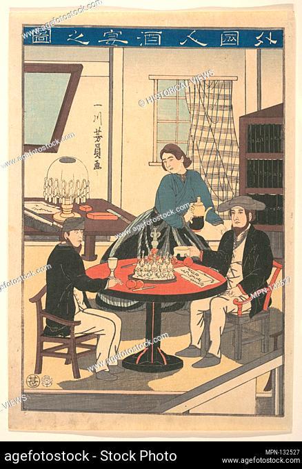 Gaikokujin Sake no zu/A Foreigner's Wine Party (Gaikokujin shuen no zu), from an untitled series of foreigners at home. Artist: Utagawa Yoshikazu (Japanese