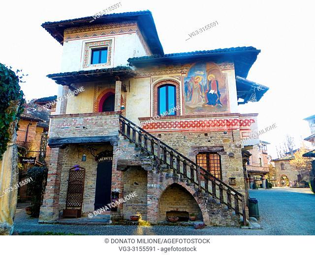 The medieval village of Grazzano Visconti, destination for tourists and venue for events. Vigolzone (Piacenza), Emilia Romagna, Italy.