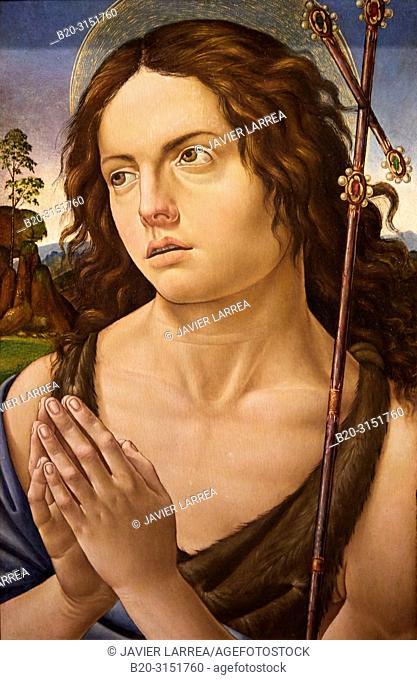 """""""Saint John the Baptist"""", c. 1505, Raffaellino del Garbo, National Museum of Catalan Art, Museu Nacional d Art de Catalunya, MNAC, Barcelona, Spain, Europe"