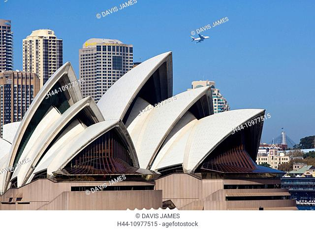 Opera House, Sydney, NSW, New South Wales, Australia, roofs, city buildings, airliner flying overhead, plane, famous, icon, ikon, iconic, ikonic