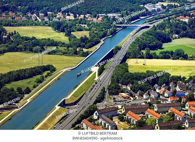 Rhine-Main-Danube Canal and aqueduct near Fuerth, aerial view, Germany, Bavaria, Middle Franconia, Mittelfranken, Fuerth