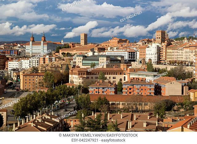 Teruel, Aragon, Spain. Aerial view of medieval city Teruel in december