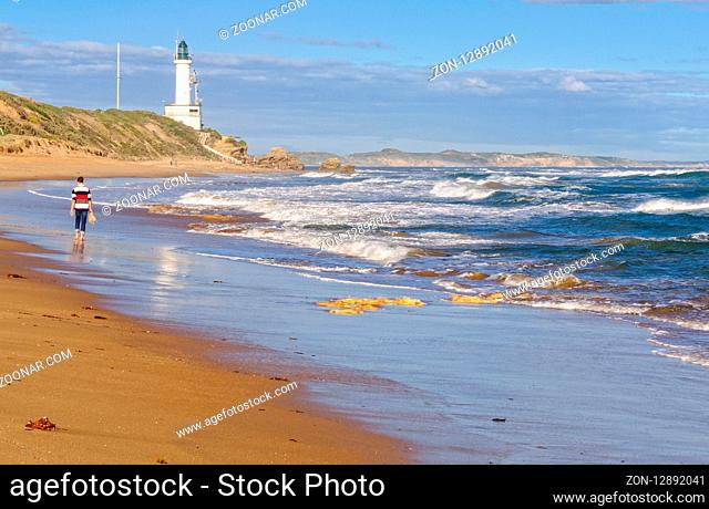 Autumn afternoon stroll on the beach at the Point Lonsdale Lighthouse, Victoria, Australia