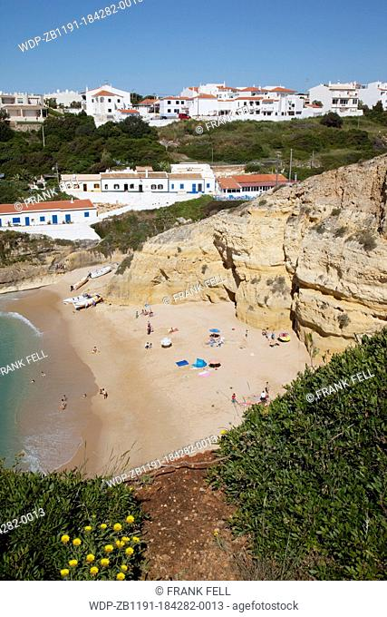Portugal, Algarve, Benagil, View over Beach & Village