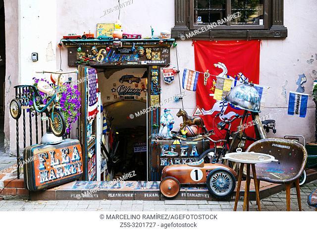 Flea market shop entrance with old toys. Vilnius, Vilnius County, Lithuania, Baltic states, Europe