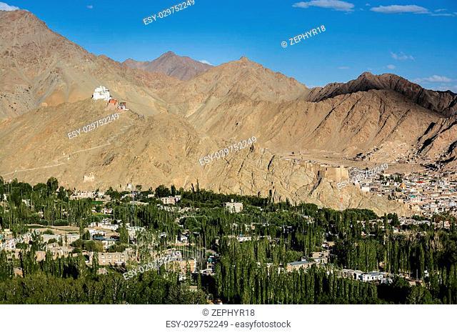Namgyal Tsemo Gompa and Leh village, Ladakh, India - View from Shanti stupa