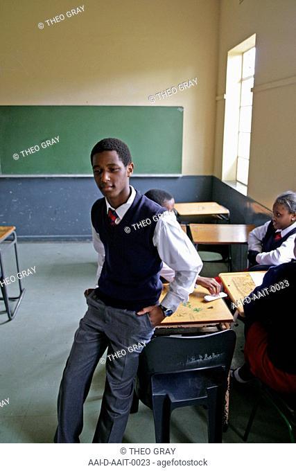 School boy in classroom, St Mark's School, Mbabane, Hhohho, Kingdom of Swaziland