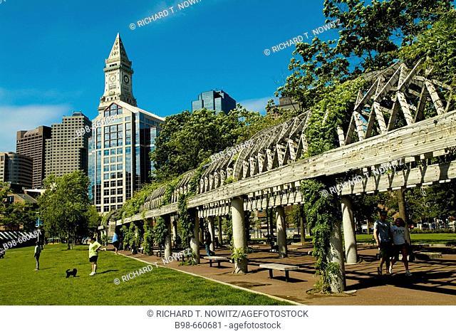 Christopher Columbus Park in North End, Boston, Massachusetts, USA