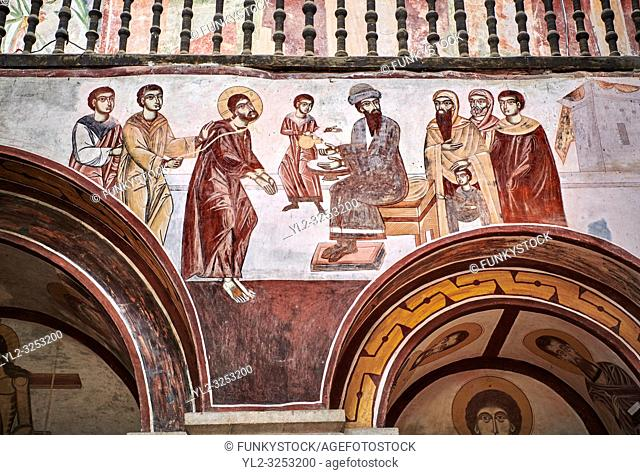 Pictures & images of the Byzantine fresco panels in the Gelati Georgian Orthodox Church of the Virgin, 1106, depicting a scene from the Passion of Christ when...