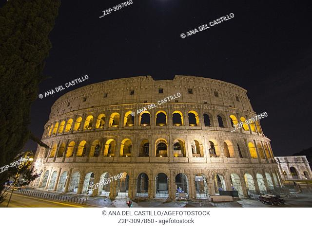 Colosseum, Rome, Italy. Night view of Colosseo in Rome, elliptical largest amphitheatre of Roman Empire ancient civilization