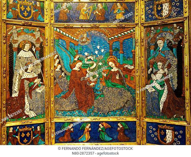 Portable Altarpiece. Master of the Louis XII Triptych. Painted enamel on Copper. France, Limoges. 1498-1514. The Victoria and Albert Museum. London